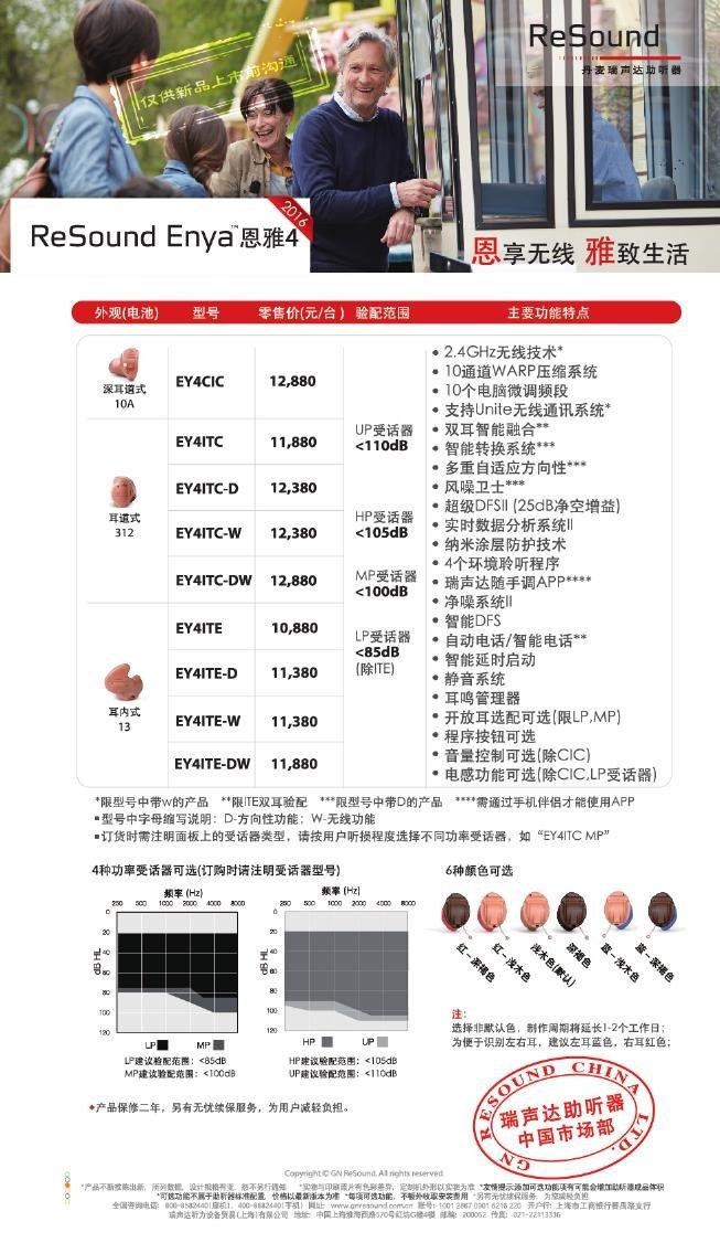 瑞声达助听器恩雅4(ReSound Enya)系列耳背式助听器价格表