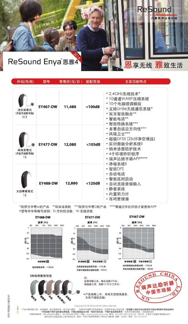 瑞声达助听器恩雅4(ReSound Enya)系列耳内式助听器价格表