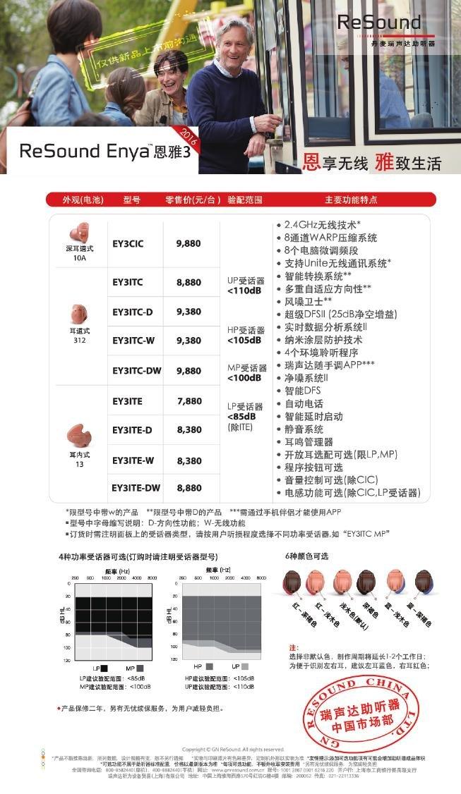 瑞声达助听器恩雅3(ReSound Enya)系列耳内式助听器价格表
